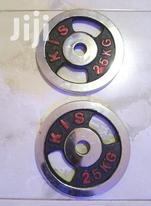 Barbell Weights 5kgs Plates (2 Pieces), Silver   Sports Equipment for sale in Kampala