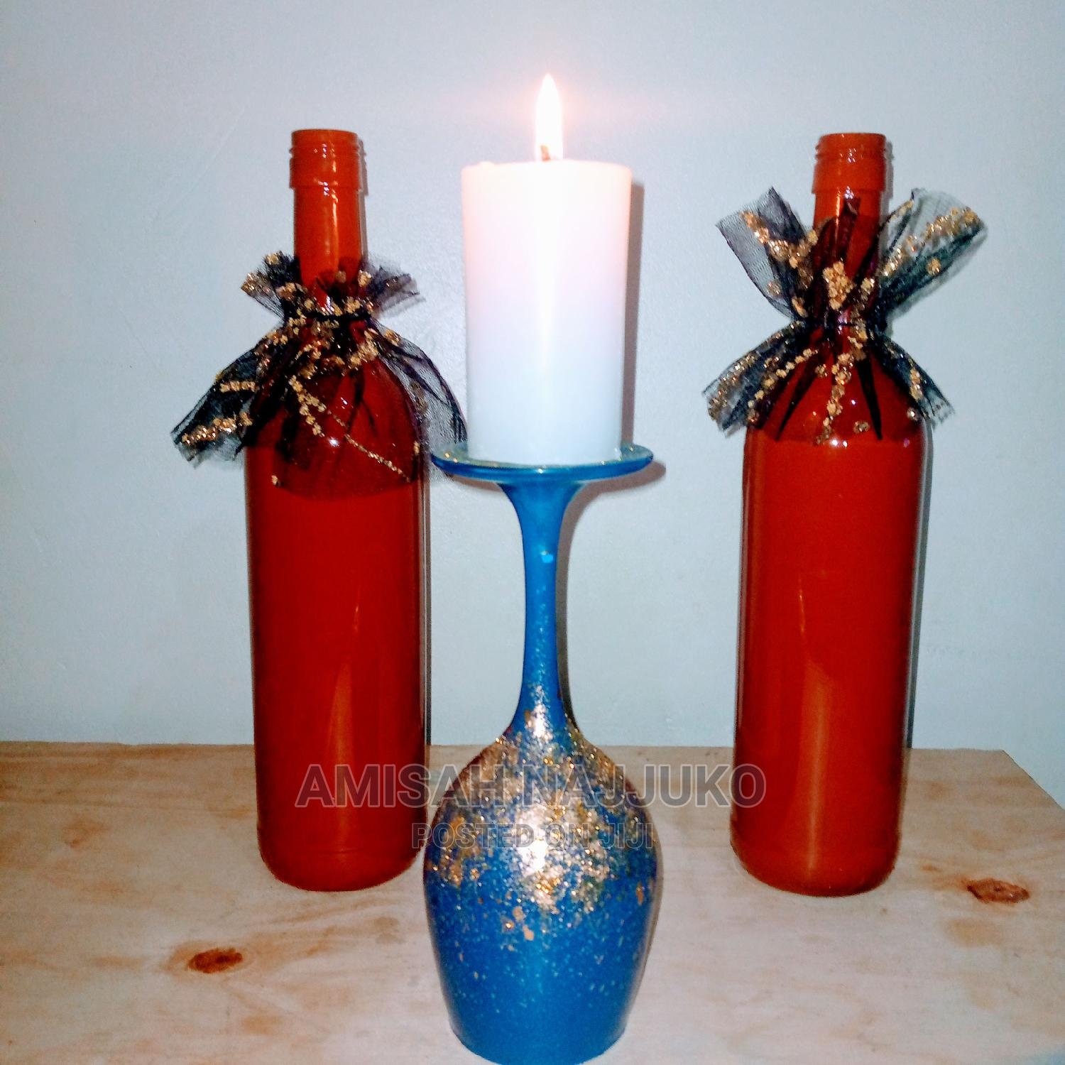 Decorated Bottles With Candle Stands