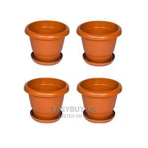 4 Plastic Flower Pots 30cm, 25cm, 20cm 15cm - Brown | Garden for sale in Kampala